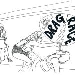 """""""Lazer Danger at Drag Race"""" December 2014  Part of """"fridge art."""" Source photograph by Caitlin Weiss."""